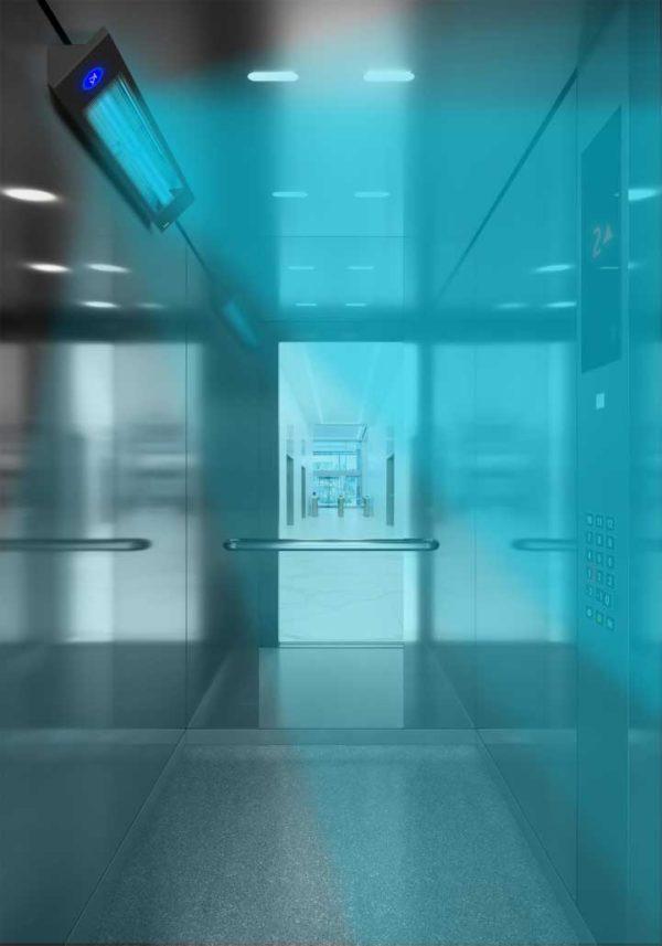 Sanificatore Cabine UV-C PRO – lampada in funzione